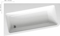 Asymetrická akrylátová vana RAVAK 10° 170x100 cm, snowwhite