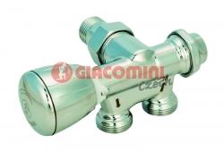 """Giacomini T358B Dvoucestný termostatický ventil, jednobodové spodní připojení, rohový, leštěný chrom, 1/2"""" x 16 levý"""