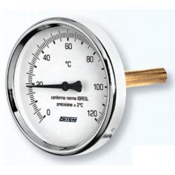 """Regulus Teploměr 0-120°C s jímkou (l= 150, 1/2""""), zadní, d=63 mm  10474"""