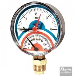 """Regulus Termomanometr 0-120°C, 4 bar, připojení 1/2"""" dolní, d=80 mm  10482"""
