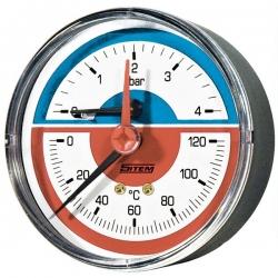 """Regulus Termomanometr 0-120°C, 4 bar, připojení 1/2"""" zadní, d=80 mm  10481"""