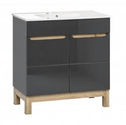 Comad Umyvadlová skříňka Bali Grey 821, 80x85x45 cm, tmavě šedá/dub
